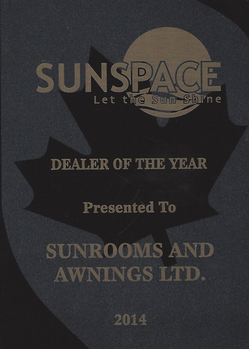 sunspace dealer of the year award 2014