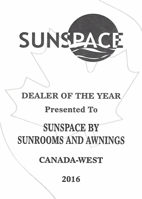 sunspace dealer of the year award 2016