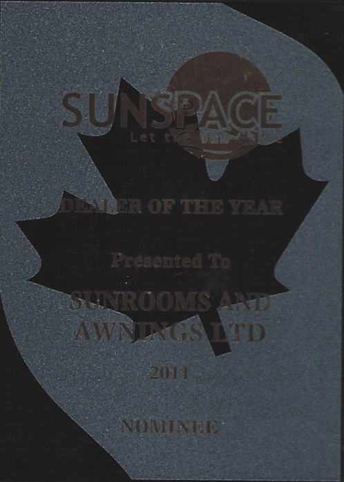 sunspace dealer of the year award nominee 2011
